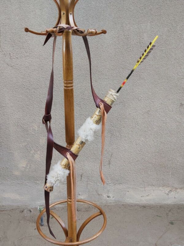rare Primitive Native American bow & arrow yucca & sheep skin huntin quiver