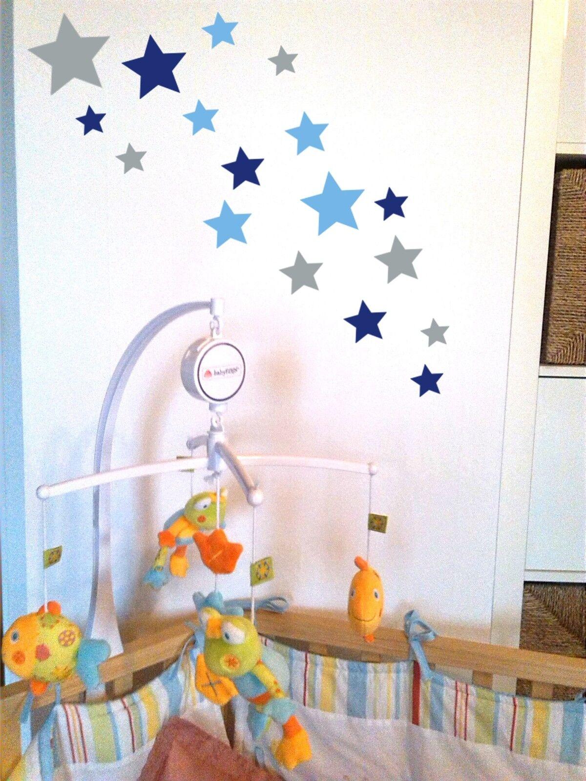 18 Kinder Sterne Aufkleber Mix Set Silber/Blau/Hellblau; Wandtattoo,Fensterbild