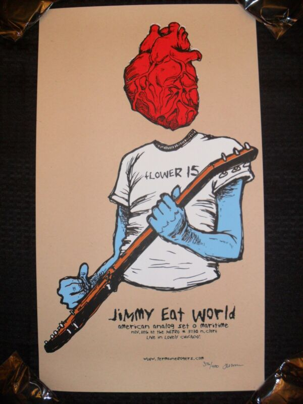 Jimmy Eat World ~ JERMAINE ROGERS ~ 2005 Tour Poster ~ The Metro Chicago ~ RARE