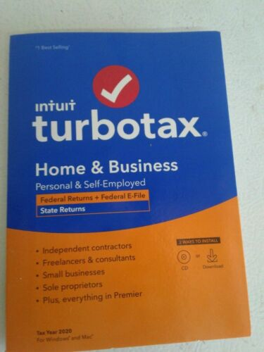 TurboTax 2020 Home & Business Federal (Efile) and State Returns 3 install left