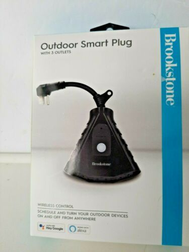 Brookstone Outdoor Smart Plug with 3 Outlets Wi-Fi Remote Controlled NEW