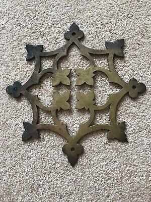 Antique Brass Ormolu Hardware Victorian Gothic Church Mount Cross Plate Fleur
