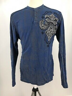 Affliction Distressed Mens Long Sleeve Graphic Blue Shirt Men's Size 2XL