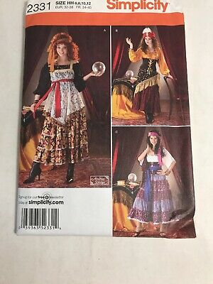 Gypsy Fortune Teller Halloween Costume Sewing Pattern size 6 8 10 12 FF - Plus Size Fortune Teller Gypsy Costume