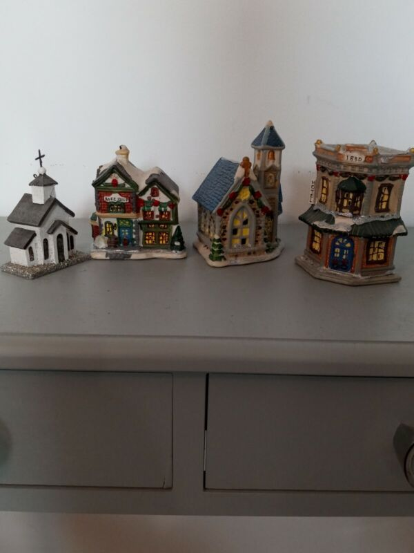 Lot of 4 Christmas Houses Village Town Ceramic Aprox 5in. high