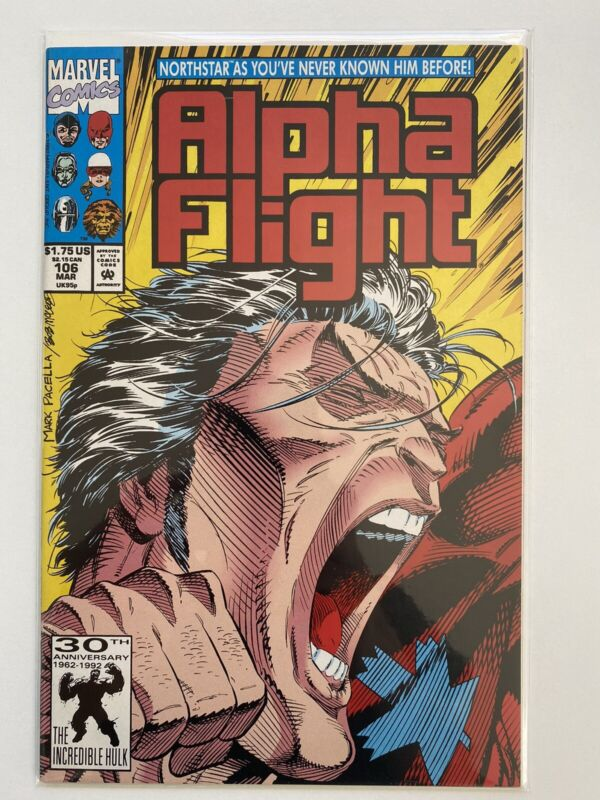 Marvel Alpha Flight #106 March 1992 Northstar Comes Out Gay key