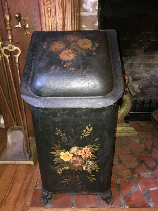 ANTIQUE HOD/ COAL SCUTTLE TOLE PAINTED WITH INSERT