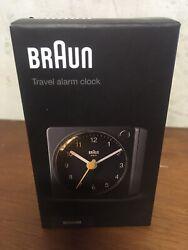 BRAUN BC02XB Black Travel Alarm Clock Analogue NIB New Classic Quartz