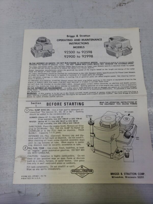 Briggs & Stratton Operating & Maintenance Instructions Models 92500-92598 92998