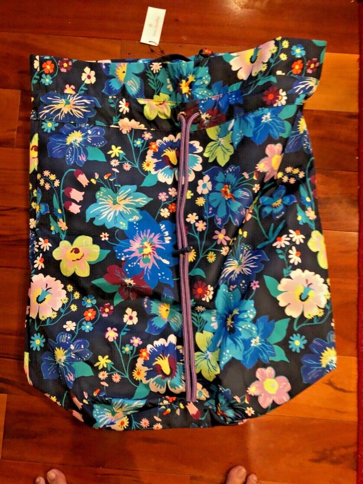 NWT NEW Vera Bradley Laundry Bag Firefly Garden Cinch Sack R