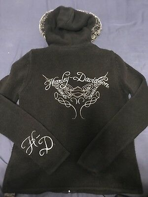 HARLEY DAVIDSON HD GORGEOUS RARE FUR TRIM HOODED FULL ZIP SWEATER JACKET SMALL (Fur Trim Sweater Jacket)