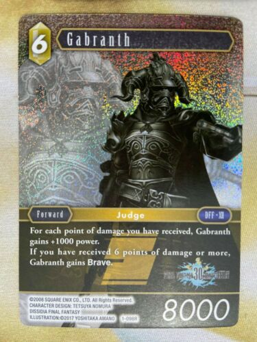 FINAL FANTASY TCG OPUS 1 30 YEARS ANNIVERSARY FOIL GABRANTH 1-098 (MINT-GEM)