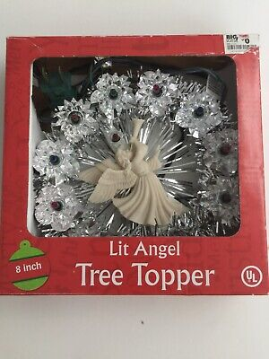 Light Up Angel with Trumpet Tinsel Round Christmas Tree Topper Decoration