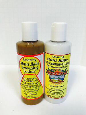 Tanning Care - Original Maui Babe Browning Lotion & After Sun Care Tan Enhancer - 4oz Each