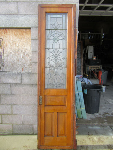 ~ ANTIQUE STAINED GLASS PANTRY DOOR ~ 24.5 x 95.5 ~ ARCHITECTURAL SALVAGE ~