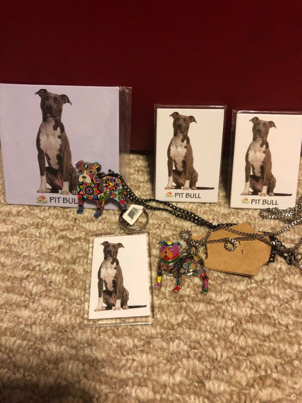 New! Pitbull Pitty Dog Gift Set Necklaces Magnet Keychain
