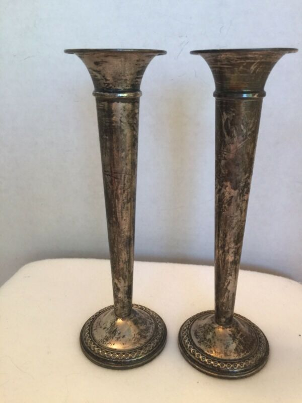 Vintage 7in. Sterling Silver Fluted Candle Holders Candlesticks