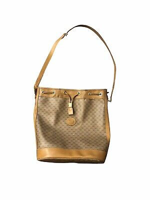 Gucci Vintage Brown Monogram Drawstring leather bucket Bag Damage Described