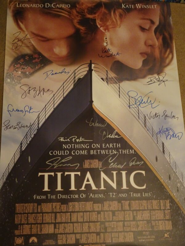 Titanic (1997) Signed Movie Poster 14 sigs!!! autographed w/ Stuart, Paxton COA