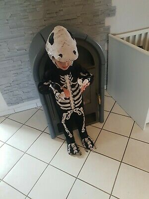 Halloween Kinder/Baby  Kostüm Dinosaurier Skelett Gr.98 Jungen, overall jumpsuit