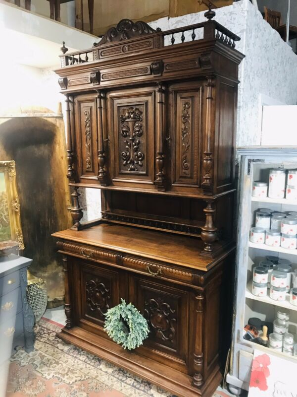French Breton Stepback Hutch, Cabinet