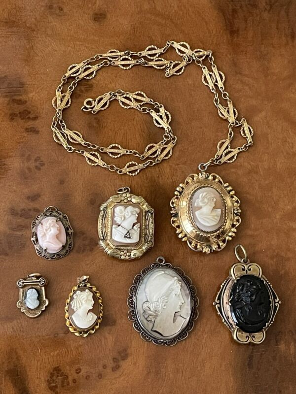 Antique Vintage Victorian Etruscan Shell MOP Cameo Locket Necklace Charm Lot