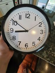 Black Wall Clock Silent Non Ticking Quality Quartz, Battery Operated 10 Inch to