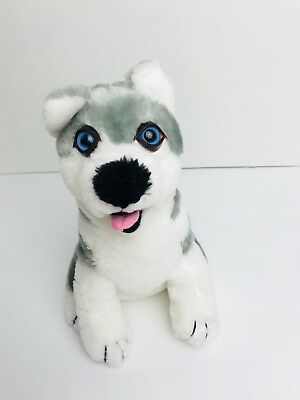 HUSKY DOG PUPPY SIBERIAN Bright Blue Eyes PLUSH gray and white Kid Toy