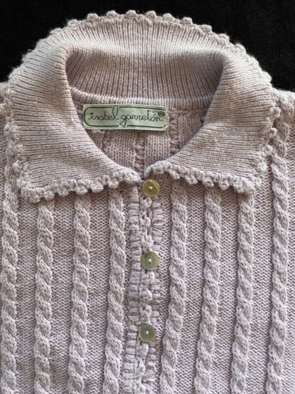 Isabel Garreton (Chile) Lavender Cable Knit Embroidered Cotton Cardigan-5/6Years