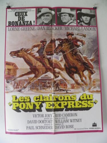 BONANZA RIDE THE WIND 1966 LORNE GREENE  Medium French POSTER 23 by 31 60
