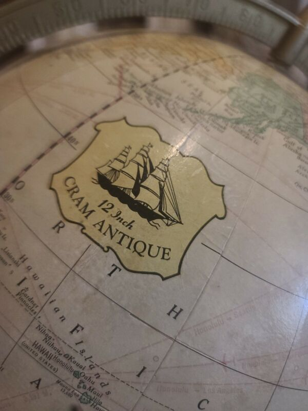 Crams Antique World Globe with 4 leg Powell Stand 1981 Vintage dual axis