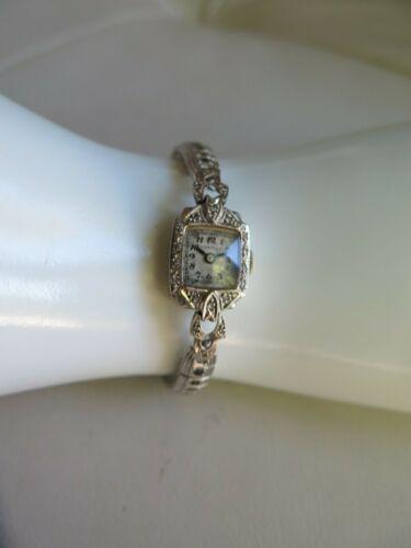 Vintage Hampden 14k White Gold & Diamond Ladies Watch