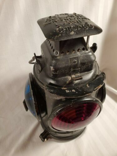 VINTAGE ORIGINAL N.P.R.R. ADLAKE NON SWEATING SIGNAL LAMP 3 BLUE & 1 RED LENS