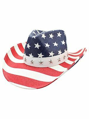 RED WHITE AND BLUE STAR STUDDED STRAW COWBOY HAT