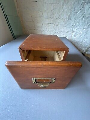 Old Wood Card Filing Drawer Good Condition.