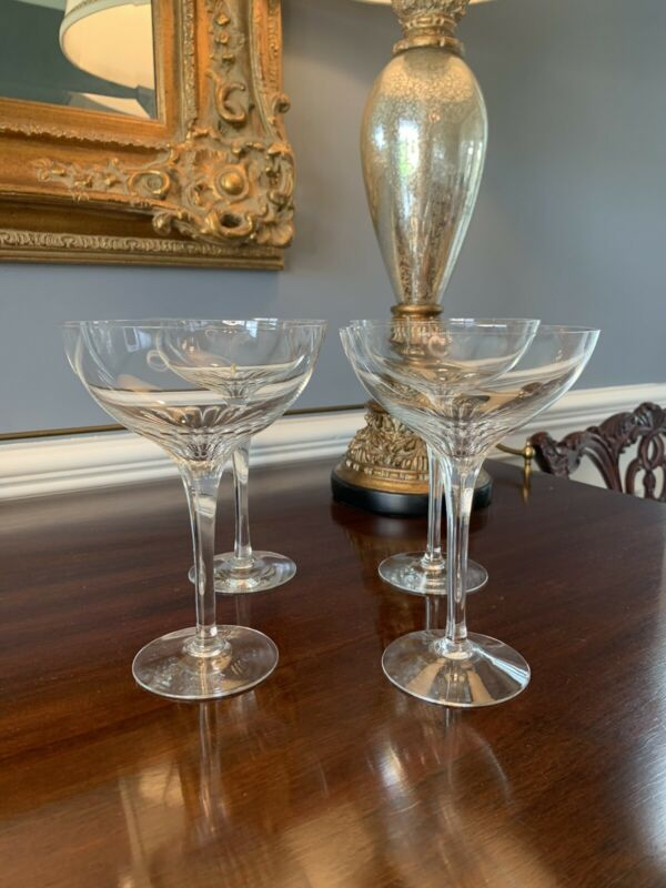 Set of 4 Orrefors Lisbet Crystal Champagne Coupes RARE Vintage Discontinued