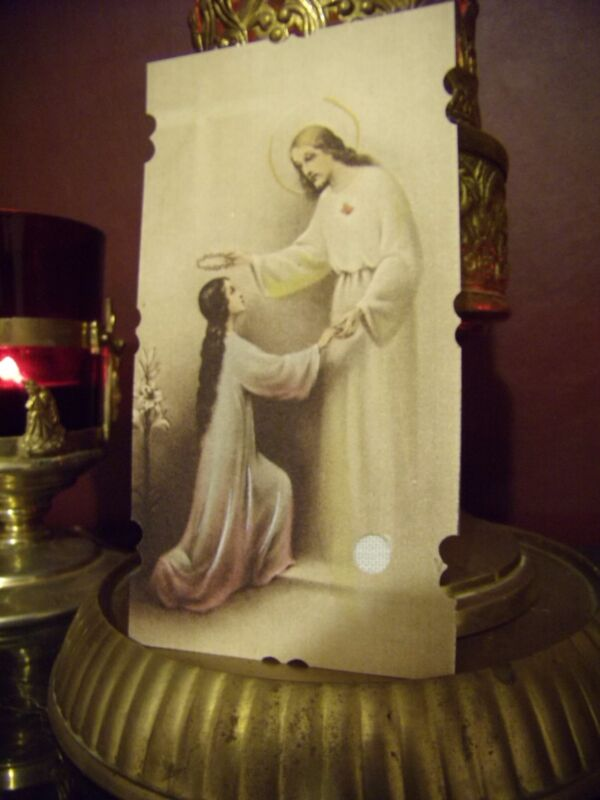 St. Gemma Galgani with Jesus Her Spouse Holy Card with Relic & Prayer Card