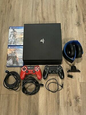 Sony PlayStation 4 PS4 Pro 1TB 4K Console - Black 2 Controllers games headset