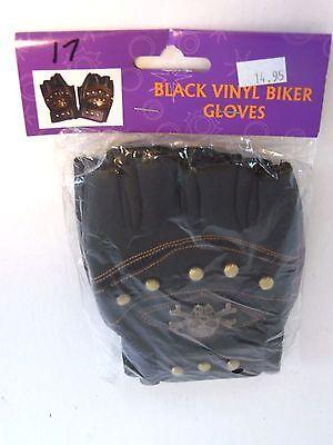 Black Vinyl Biker Adult Gloves Costumes Halloween Party Theater Dance  - Biker Gloves Halloween