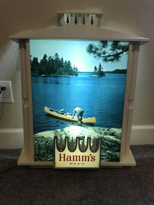 vintage Hamms 1960's Lighted Canoe Scene Beer Sign Large Illuminated Sign