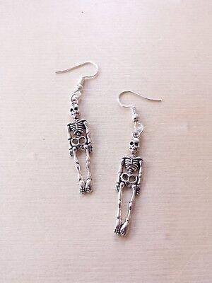 Skelett Ohrringe ♥ Halloween ♥ Handgefertigter Schmuck in Silber