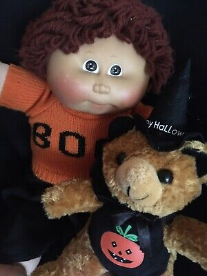 "Rare HTF Cabbage Patch Boy Doll 16"" with Halloween Pumpkin Costume 1982 Vintage"