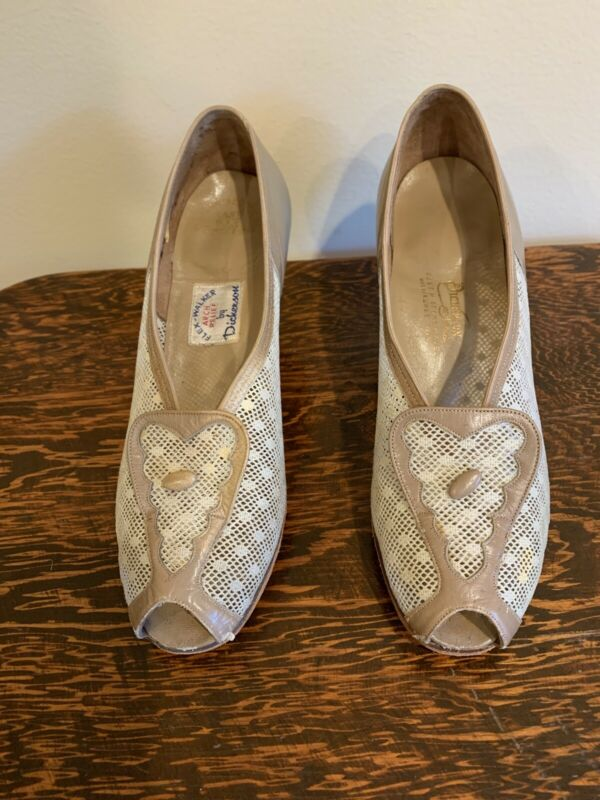 Vintage Beige And Brown 1940's Dickerson Pumps Size 7.5 A