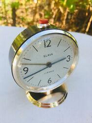 Vintage Mechanical Alarm Clock Russian Slava 11 Jewels Soviet USSR Russia Unique