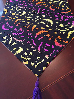 Halloween Orange Purple Yellow Spooky  Faces Cotton Table Runner by ThemeRunners](Halloween Spooky Faces)