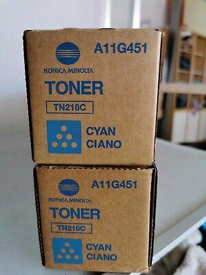 2x Konica Minolta A11G451 TN216C Toner Blau Neu!! OVP!!