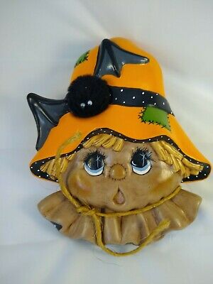 Vintage Halloween Jack-O-Lantern Pumpkin Scarecrow Ceramic wall hanging