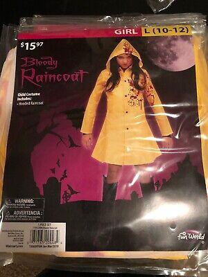 Bloody Girl Costumes (Halloween Costume Girl Bloody Raincoat Large 10-12)