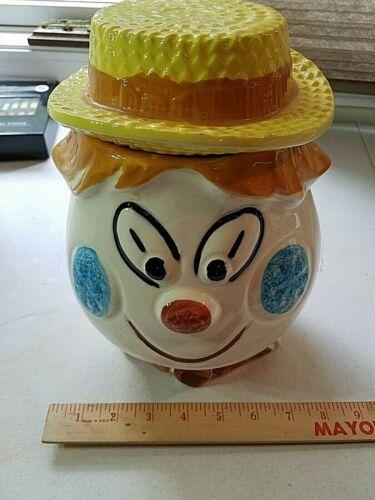 Clown Cookie Jar CLOWN HEAD EGG HEAD with HAT