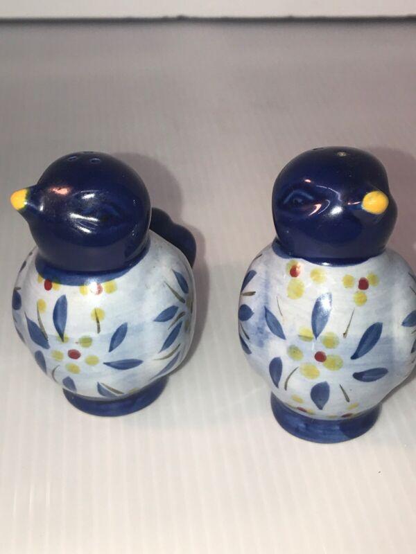Vintage Birds Salt Pepper Shakers hand-painted Blue Folk Art Mexico Unused